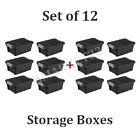 4 Gallon Storage Stacker Tote Set of 12 Boxes Home or Office Plastic Black NEW