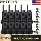 10xRetevis H-777 Walkie Talkie UHF400-470MHz 16CH 2-Way Radio+10xSpeaker Mic US