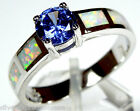 6mm Tanzanite & White Fire Opal Inlay 925 Sterling Silver Ring Size 6 or 8