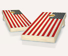 USA FLAG STAINED CORNHOLE BOARDS GAME SET Bean Bag Toss + 8 ACA Regulation Bags