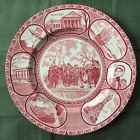 Old English Staffordshire Ware - Jonroth Plate - Souvenir of Plymouth Mass - Red