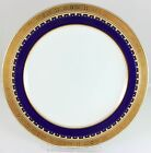 SPECIAL MINTON CHINA G3950 DINNER PLATE COBALT BLUE RAISED GOLD ENCRUSTED WHITE