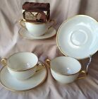 Vintage 1930's Tiffany Soup Bowl And Saucers Ivory W/ Gold Encrusted Edges