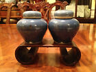 A Pair Rare Chinese  Ming Dynasty Miniature Blue Glazed Lidded Jars.