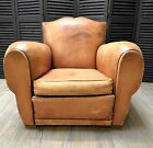 1920s French Art Deco Moustache Leather Lounge Club Chairs - London/Leyton E10