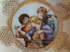 ANTIQUE LIMOGES HAND PAINTED SIGNED PORTRAIT PLATE, YOUNG MUSICIANS, 9