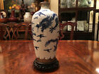 19th C Chinese Blue and White Porcelain Dragon Vase with Silver Glaze, Marked.