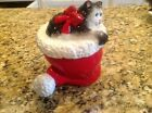 Fitz And Floyd Sugar Bowl With Lid Christmas Kitty Claus