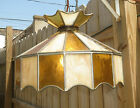 VTG Tiffany style hanging ceiling Swag Lamp Stained glass amber gold cream