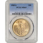 1909-S US Gold $20 Saint-Gaudens Double Eagle - PCGS MS65 - Glowing Luster