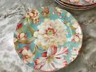 222 Fifth Salad Plates. Marley Teal. Set Of 4. Beautiful Floral Design. New.