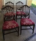 Vintage Ethan Allen Walnut Wood Shield Back Dining Chairs (5)