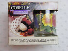 Corelle Impressions by Corning 4 Juice Glasses 1990's