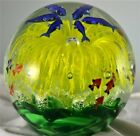 Yellow Glass Flower Paperweight Glow In The Dark Handcrafted Home Decor