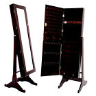 Dark Brown Mirrored Jewelry Cabinet Armoire Stand Mirror Earring Ring