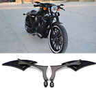 BLACK BLADE STEADY CNC ALUMINUM MIRRORS FOR MOTORCYCLE CRUISER CHOPPER 8 10MM