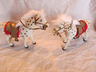 Vintage pair velvet white horses bobble head saddles EUC