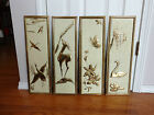 (4) Picture Collage Gold Metal Pictures, Made In Holland, Butterfly, Bird