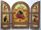 Christmas Triptych Icon The Nativity with Gold Leaf Traditional Iconography