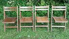 Set of FOUR Vintage Mid Century Wooden Wood Slatted Folding Chairs Made Romania