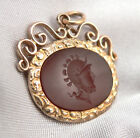 Antique Victorian Oval CARNELIAN INTAGLIO Watch FOB PENDANT Gold Filled GF/RGP