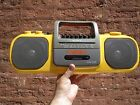 Vintage SONY Sports Yellow radio-cassette player CFS-905 Mega Bass BoomBox WORKS