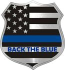 Back The Blue Thin Blue Line Metallic Shield Decal