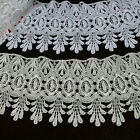 4 Off White or White Floral Venice Lace Trim Dangling Teardrop Fringe By Yard