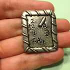 Vintage Signed QPP Pewter CHALKBOARD BROOCH Pin Cat Math ABC's Teacher Jewelry