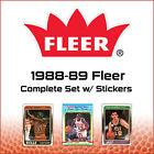 1988-89 Fleer Complete Set w Stickers (143 Cards - NBA - RARE) (PSCC)