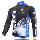 Mens Thermal Winter Cycling Jersey Long Sleeve Fleece Cycling Jacket Discovery
