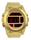 Nixon A360502 Unit SS All Gold Chronograph Red Digital Men Watch NEW