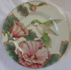 FITZ AND FLOYD FINE PORCELAIN HUMMINGBIRD ACCENT SALAD / DESSERT PLATE SET OF 4