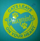 Cat Decal Paw Prints On Your Heart Car Truck SUV Jeep Wall Vinyl window Sticker