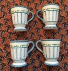 Set Of 4 Fitz And Floyd Seaboard Large Coffee Latté Mugs Cups Blue White
