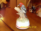 Vintage Porcelain Woodpecker on a log Music Box NICE Plays Over the Rainbow LOOK