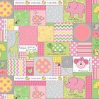 Fabric Baby Animals Patchwork Squares on Pink Flannel by the 1 4 yard BIN