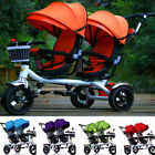 Cute Tricycle Stroller Pram For Twin Double Baby Kid Swivel Seat Pushchair Safty