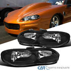 For 98 02 Chevy Camaro Z28 Matte Black Headlights Driving Head Lamps Left+Right