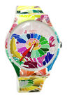 Swatch SUOW126 Flowerfool Pink Dial White Floral Silicone Band Women Watch New