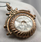 Antqiue Victorian Carved MOP Mother of Pearl BLOODSTONE FLIP FOB Pendant Spinner
