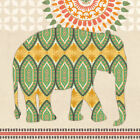 Jaipur Elephant Green Ikat by Jennifer Brinley Graphic Art on Wrapped Canvas