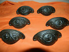 SET/6 Rustic Antique Style Cast Iron Curved Embossed Pattern Drawer Pull Handle