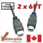 2-Pack 4K 6FT GOLD HDMI Cable v1.4 high speed 1080p 3D Ethernet Audio Video Cord