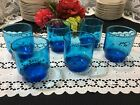 Set of 6 Libbey Turquoise Bluenique Stackable Rocks/ Low Tumbler Glasses 3 3/4