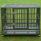 37 48 Heavy Duty Strong Metal Pet Dog Cage Crate Kannel Playpen w Wheels