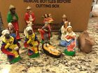RARE VINTAGE 13 PIECE CHALK WARE CHRISTMAS NATIVITY SET MADE IN ITALY VERY NICE