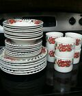 1997 GIBSON CAMPBELL'S 29 PIECE BLACK AND WHITE CHECKER DINNERWARE VINTAGE SET