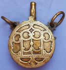 EXCELLENT ANTIQUE C.1800 MOROCCAN/ISLAMIC DECORATED BRASS POWDER FLASK