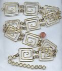 29 VINTAGE BRASS FILIGREE 25x15 RECTANGLE DECO SWIRL SCROLL LINK CHAIN CH76